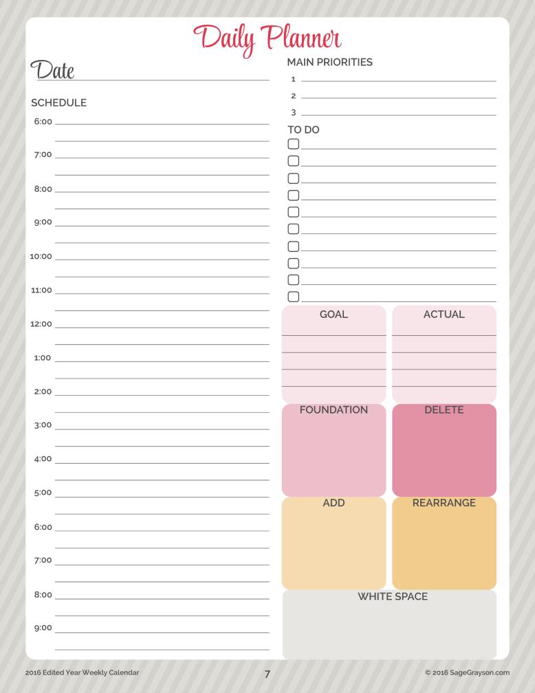 Free Printable Worksheet: Daily Planner for 2016 - Sage Grayson Life ...