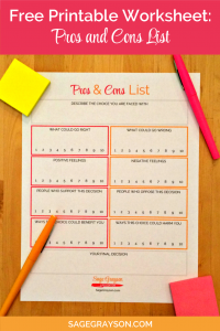 Free Printable Worksheet: Pros and Cons List