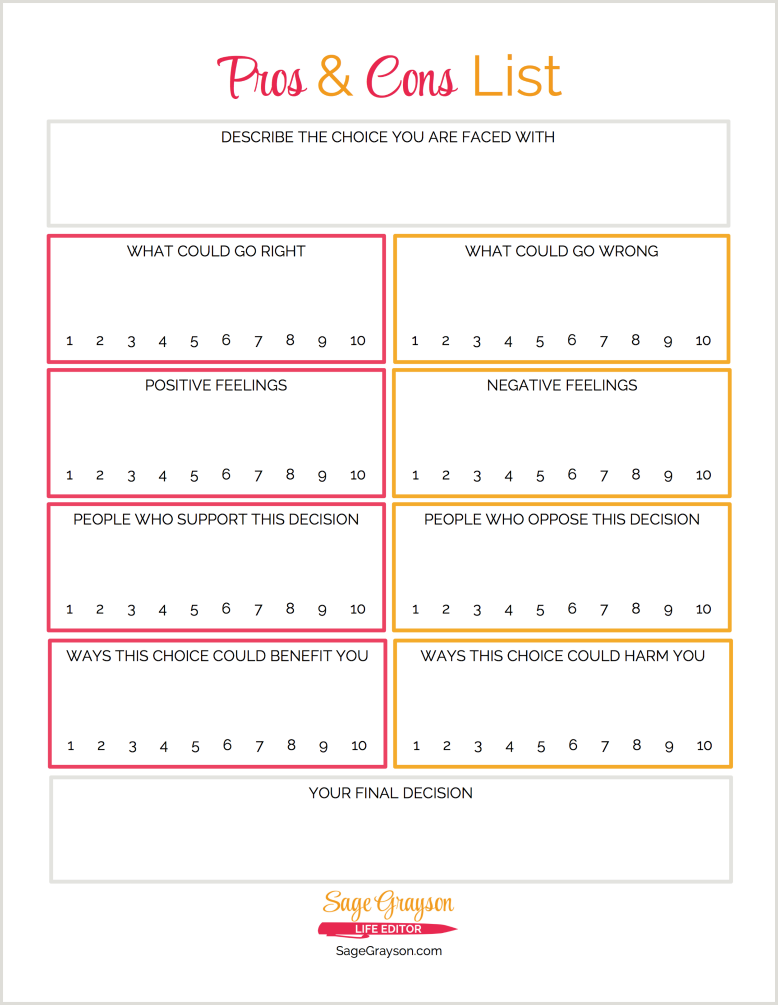 Free Printable Worksheet: Pros and Cons List - Sage ...