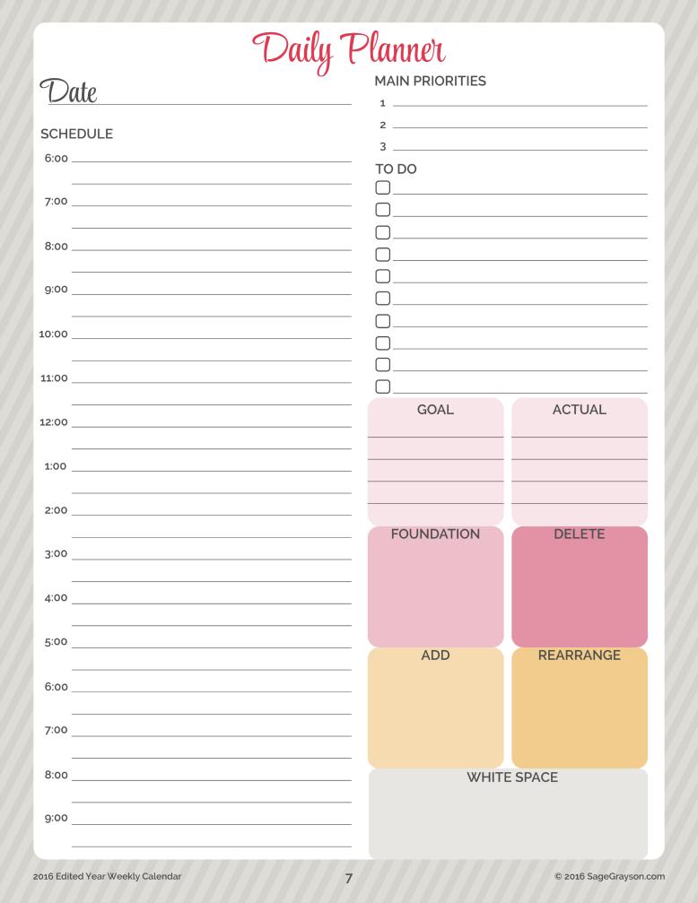 free printable worksheet daily planner for 2016 sage grayson life editor. Black Bedroom Furniture Sets. Home Design Ideas
